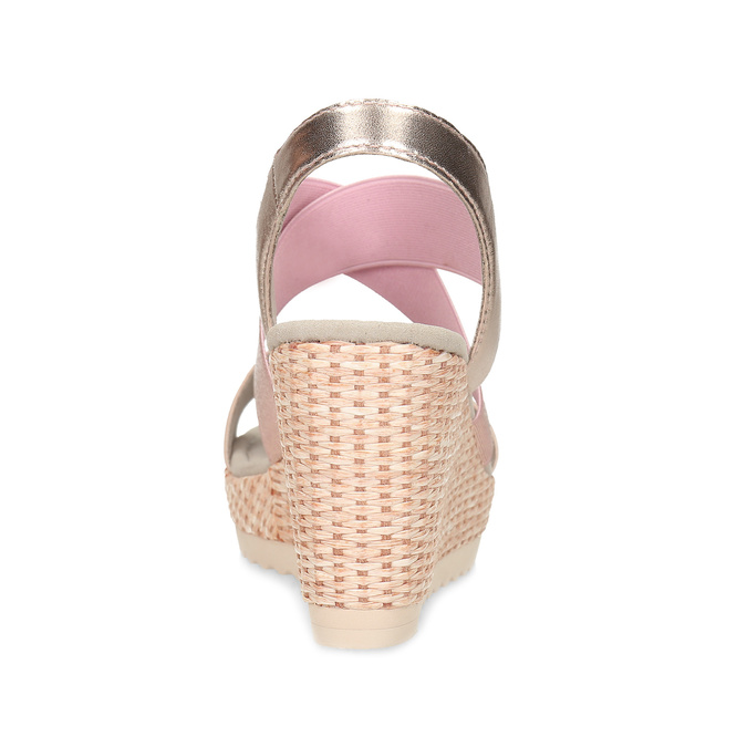 Růžové dámské sandály na přírodní platformě gabor, růžová, 769-5646 - 15