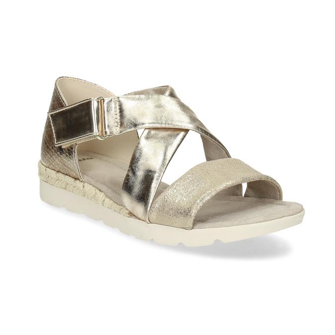 Zlaté dámské sandály na světlé podešvi bata, zlatá, 561-8606 - 13