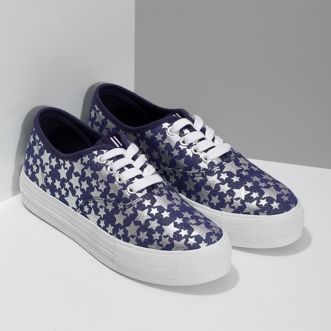 Modré dámské tenisky s hvězdičkami north-star, modrá, 649-9604 - 26