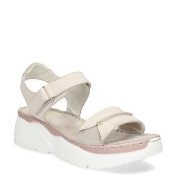 Kožené růžové sandály na masivní podešvi bata, růžová, 663-5603 - 13