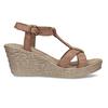 Hnědé kožené sandály na přírodní platformě bata, hnědá, 764-4603 - 19