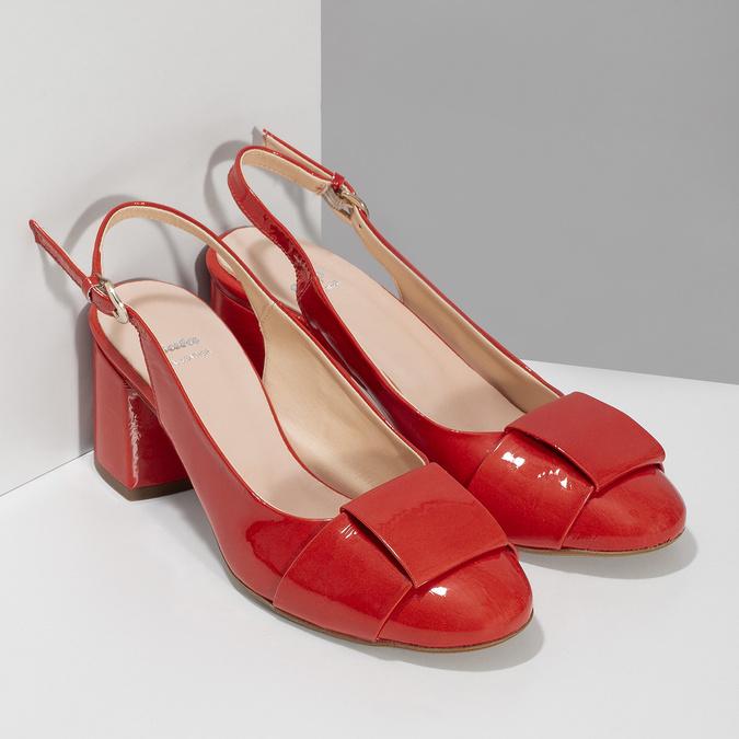 Červené lakované lodičky bata, červená, 628-5632 - 26
