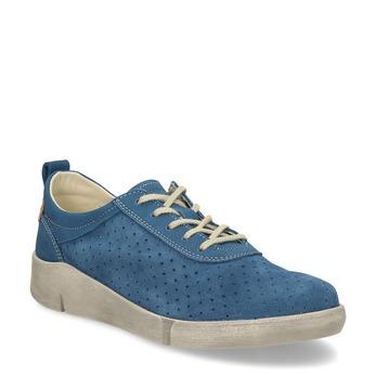 Modré tenisky z broušené kůže s perforací weinbrenner, modrá, 546-9622 - 13