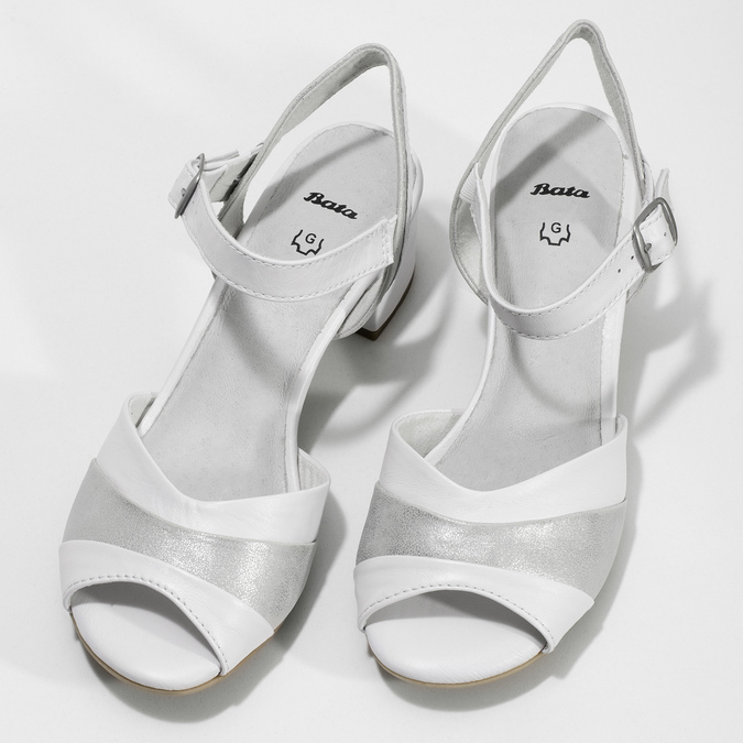 Bílé kožené sandály se stříbrnými detaily bata, bílá, 664-1602 - 16