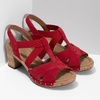 Červené dámské sandály z broušené kůže gabor, červená, 663-5602 - 26