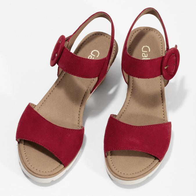 Kožené červené sandály na přírodní platformě gabor, červená, 663-5606 - 16