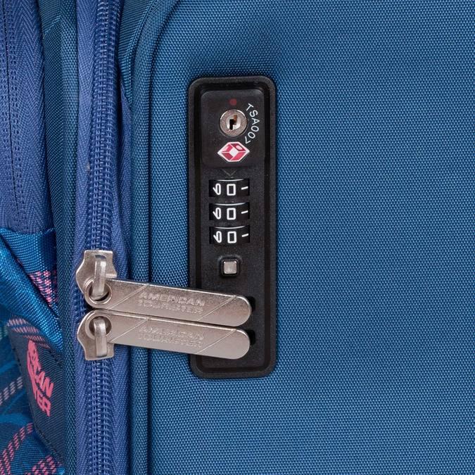 Modrý kufr na kolečkách s nápisy american-tourister, modrá, 969-9740 - 16