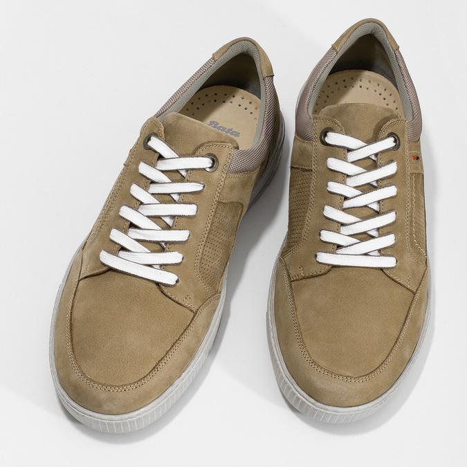 Béžové kožené pánské tenisky bata, hnědá, 846-8600 - 16