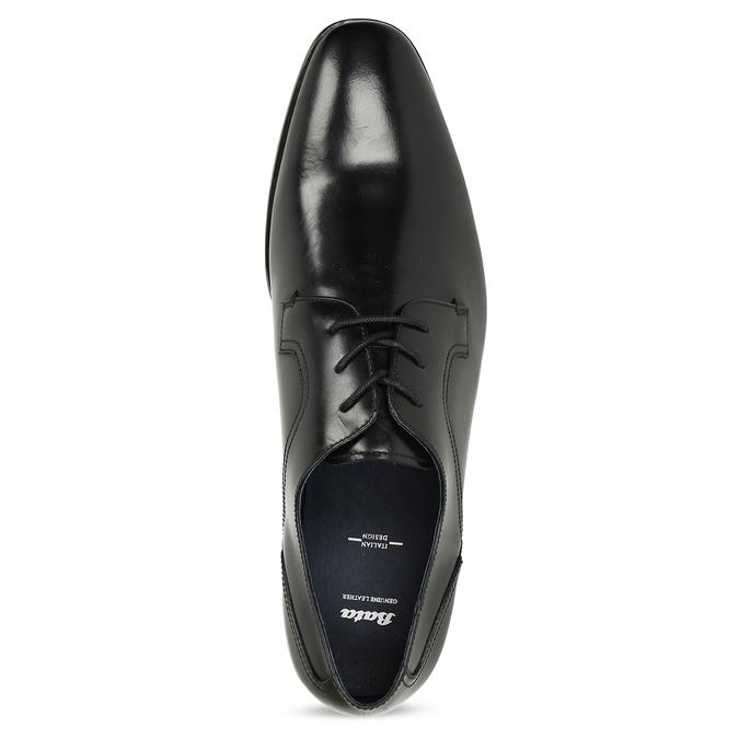 Černé pánské kožené Derby polobotky bata, černá, 824-6902 - 17