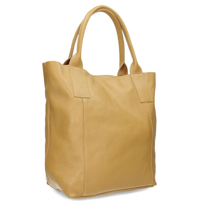 Žlutá kožená kabelka s prošitím bata, žlutá, 964-8221 - 13