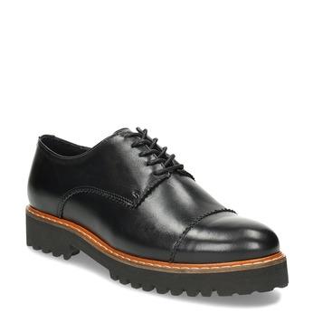 Černé kožené polobotky s ležérní podešví bata, černá, 524-6612 - 13