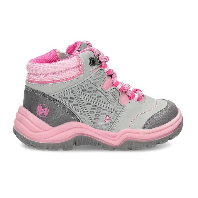 Šedá dětská kotníčková obuv s růžovými detaily bubblegummers, šedá, 121-2720 - 19