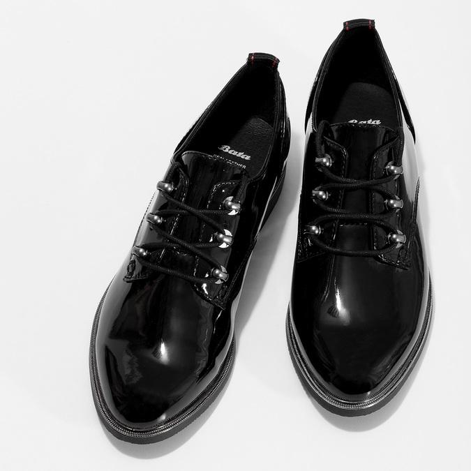 Černé lakované polobotky dámské bata, černá, 521-6601 - 16