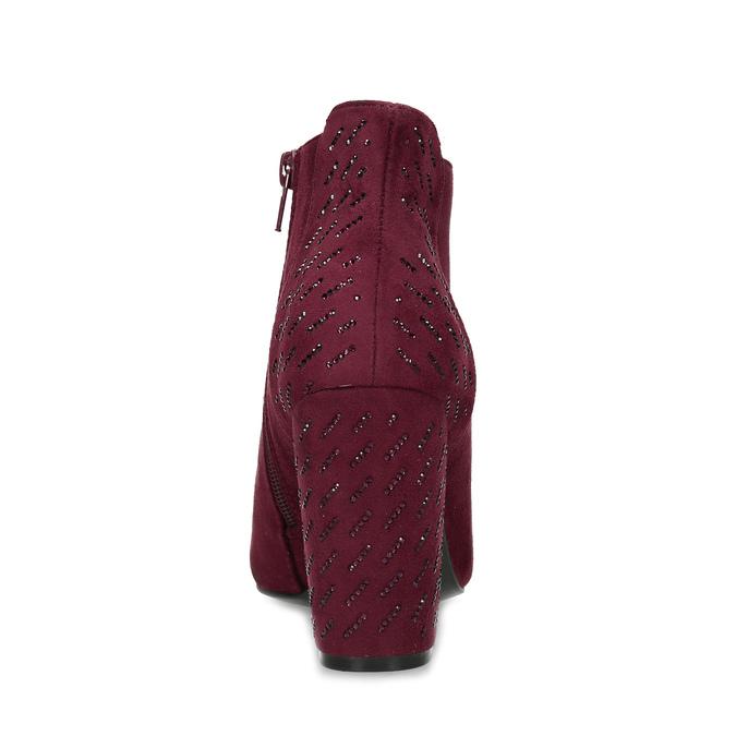 Dámská kotníková obuv na stabilním podpatku bata, červená, 699-5605 - 15