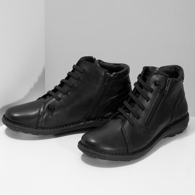 Kožená dámská černá kotníčková obuv bata, černá, 524-6617 - 16