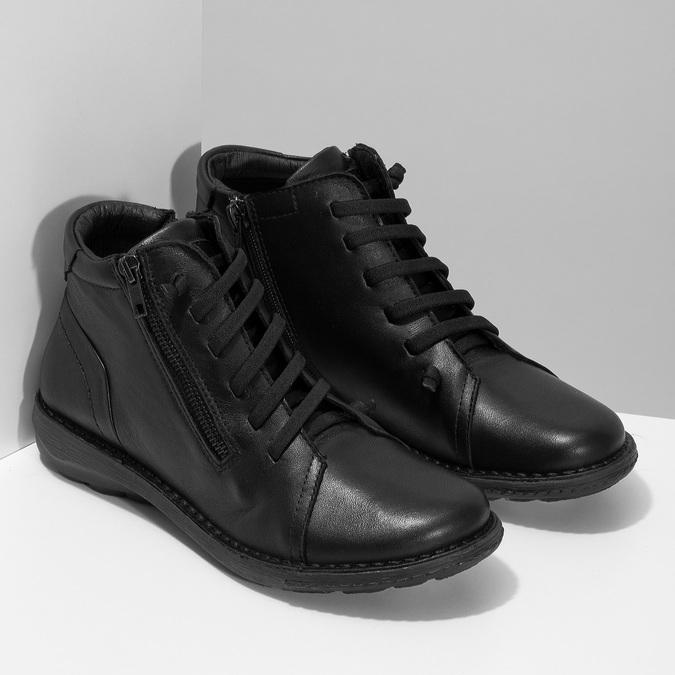 Kožená dámská černá kotníčková obuv bata, černá, 524-6617 - 26