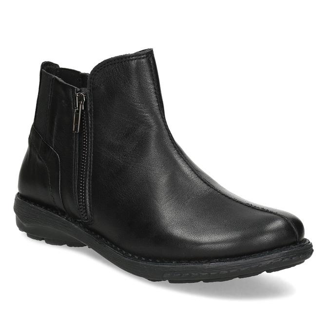 Dámská černá kožená kotníčková obuv bata, černá, 524-6618 - 13