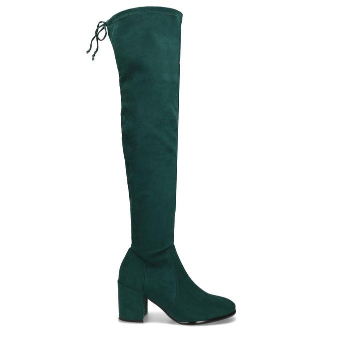 Dámské vysoké zelené kozačky se šňůrkami bata, zelená, 699-7609 - 19