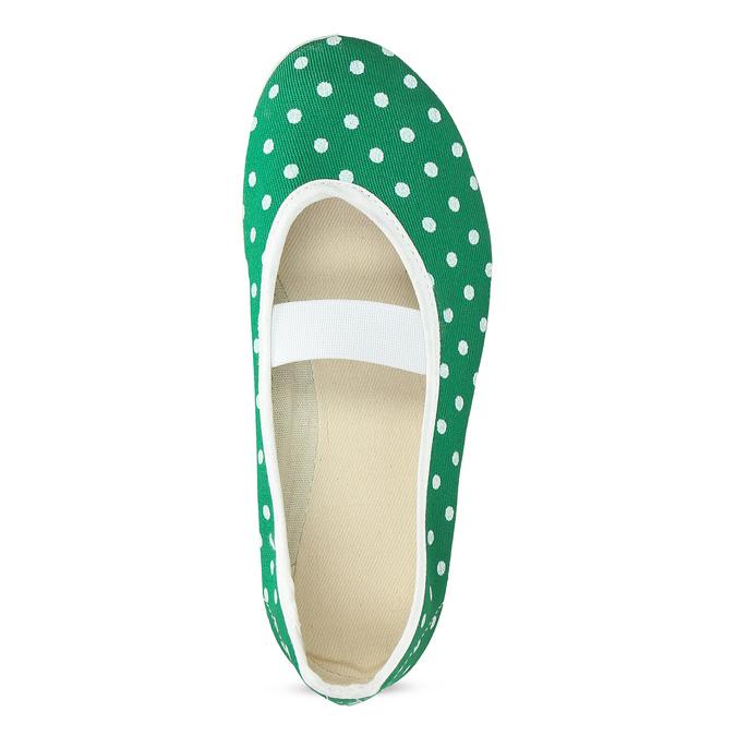Zelené dětské přezůvky s puntíky bata, zelená, 379-7100 - 17
