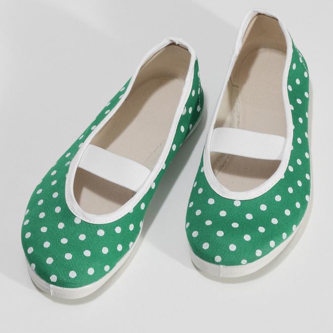 Zelené dětské přezůvky s puntíky bata, zelená, 379-7100 - 16