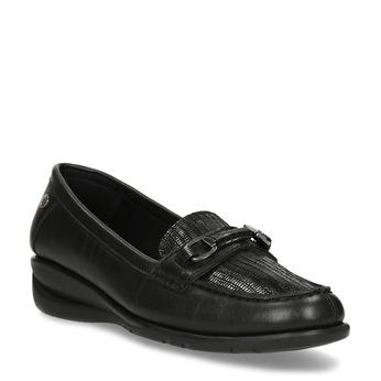 Kožené černé dámské mokasíny s přezkou comfit, černá, 514-6604 - 13