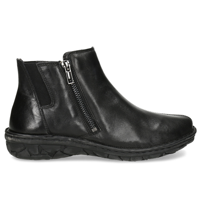 Černé dámské kotníčkové kožené kozačky bata, černá, 594-6624 - 19