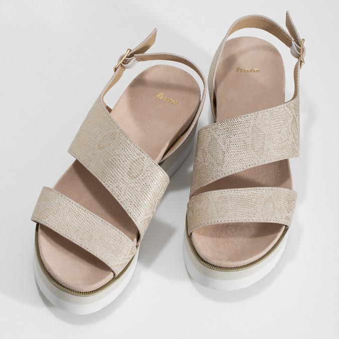 Béžové dámské sandály na platformě bata, zlatá, 561-1631 - 16