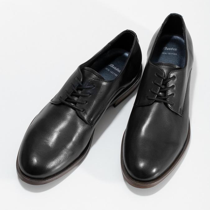 Dámské kožené černé Derby polobotky bata, černá, 524-6608 - 16