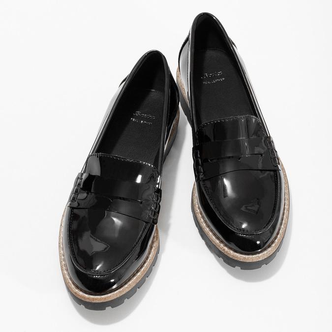 Dámské černé mokasíny lakované bata, černá, 551-6601 - 16