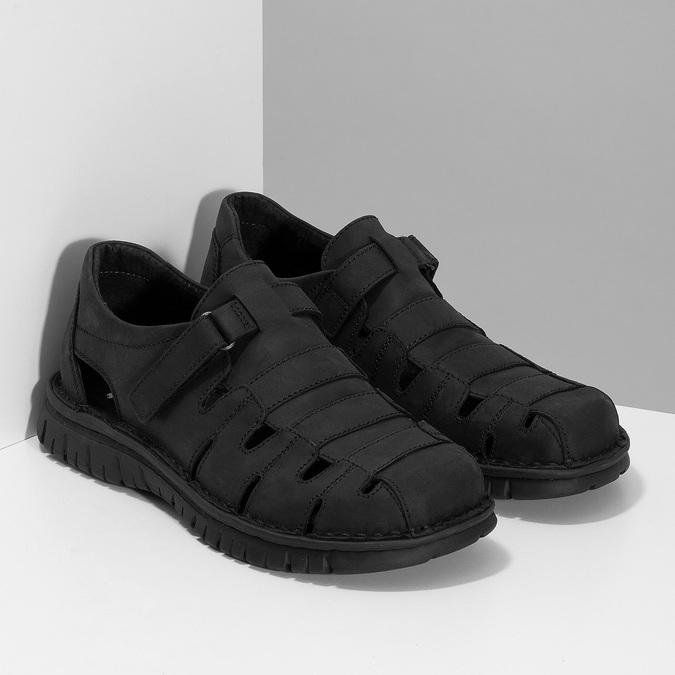 Pánské kožené černé sandály bata, černá, 866-6852 - 26