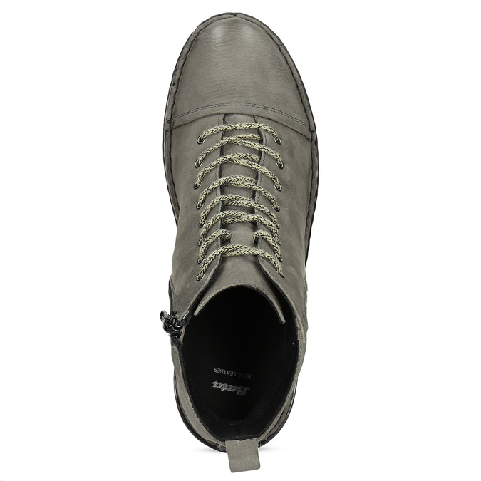 Šedá dámská kožená kotníčková obuv bata, šedá, 596-2604 - 17