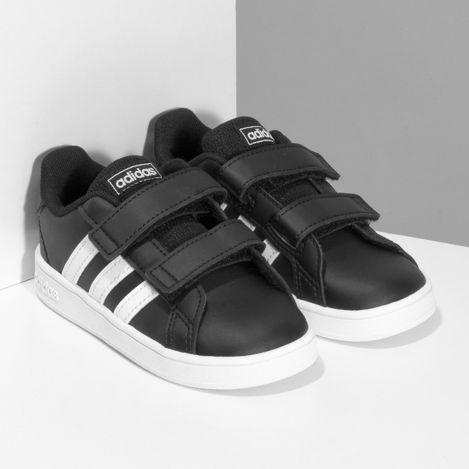 Černé dětské tenisky na suché zipy adidas, černá, 101-6281 - 26