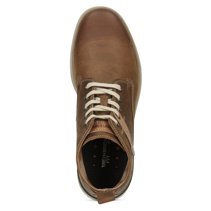 Pánská hnědá kožená kotníčková obuv weinbrenner, hnědá, 846-3638 - 17
