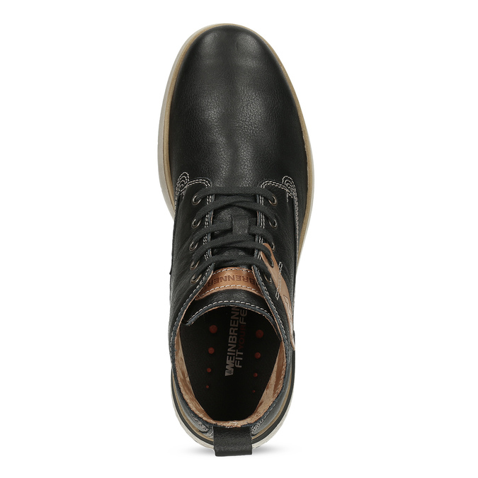 Černá kožená pánská kotníčková obuv weinbrenner, černá, 844-6638 - 17