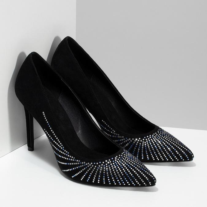 Černé lodičky s kamínky na jehlovém podpatku bata, černá, 729-6608 - 26