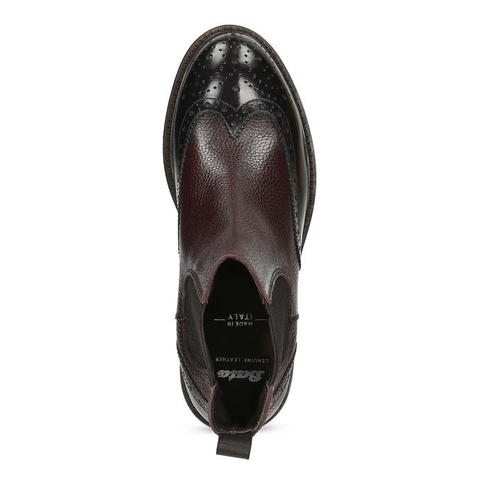 Vínová pánská kožená kotníčková Chelsea obuv bata, červená, 826-5630 - 17
