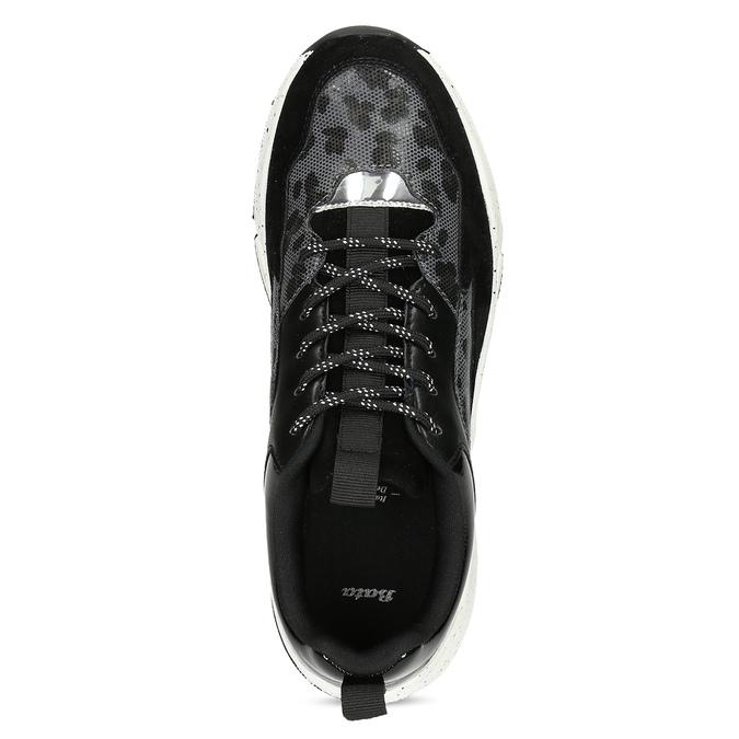 Černé dámské tenisky s masivní podešví bata, černá, 541-6610 - 17