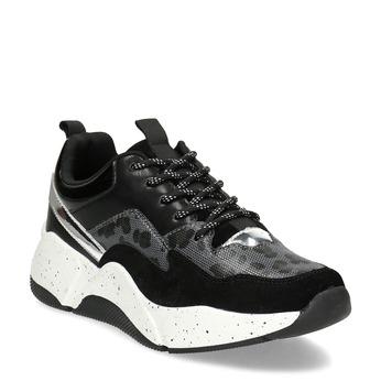 Černé dámské tenisky s masivní podešví bata, černá, 541-6610 - 13