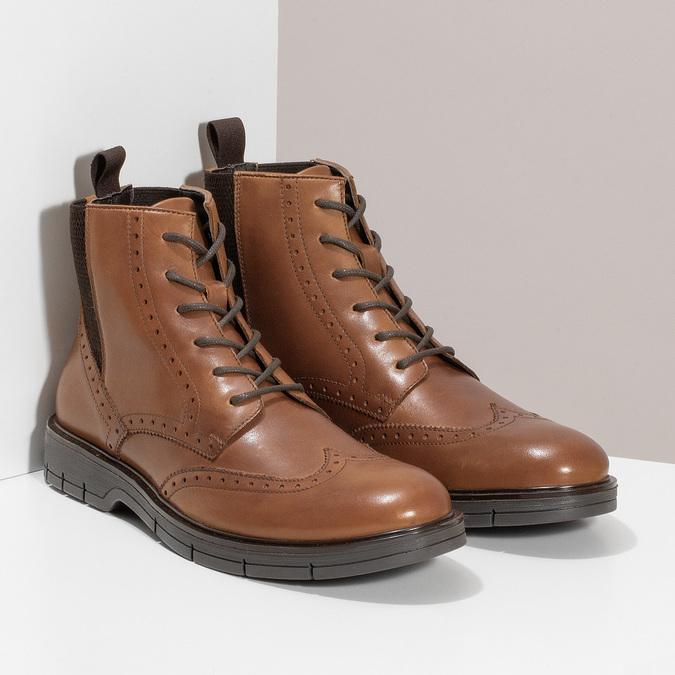 Hnědá kožená kotníčková Chelsea obuv flexible, hnědá, 896-3742 - 26