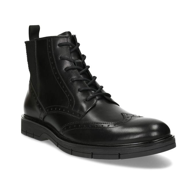 Kotníčková kožená obuv s Brogue zdobením flexible, černá, 894-6742 - 13