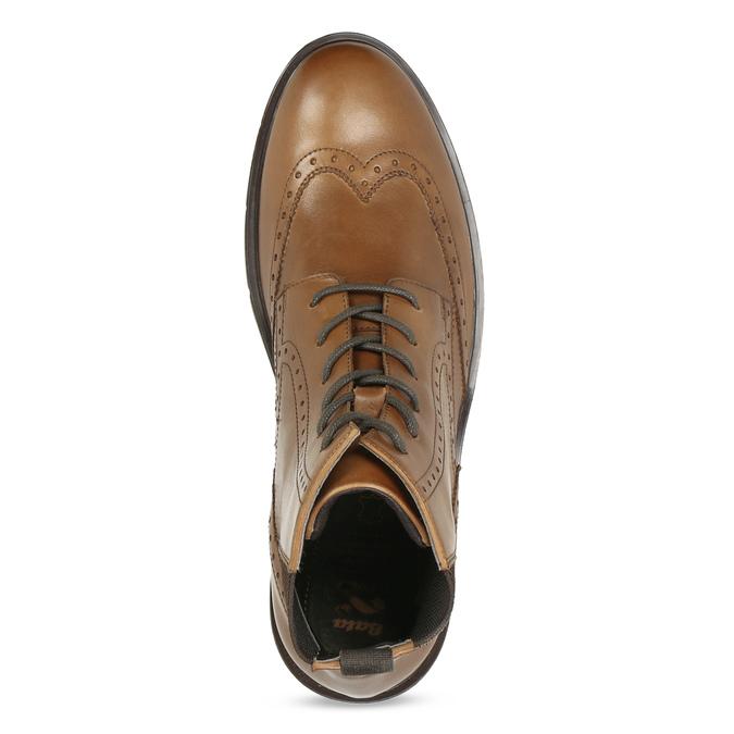 Hnědá kožená kotníčková Chelsea obuv flexible, hnědá, 896-3742 - 17