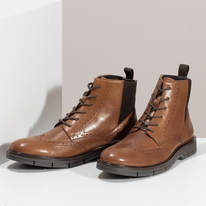 Hnědá kožená kotníčková Chelsea obuv flexible, hnědá, 896-3742 - 16