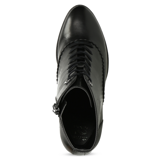 Kožené černé kotníčkové kozačky na podpatku flexible, černá, 794-6607 - 17