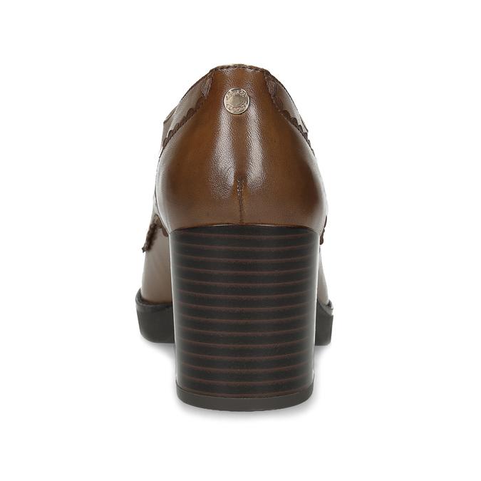 Dámské hnědé kožené polobotky na podpatku flexible, hnědá, 626-3604 - 15