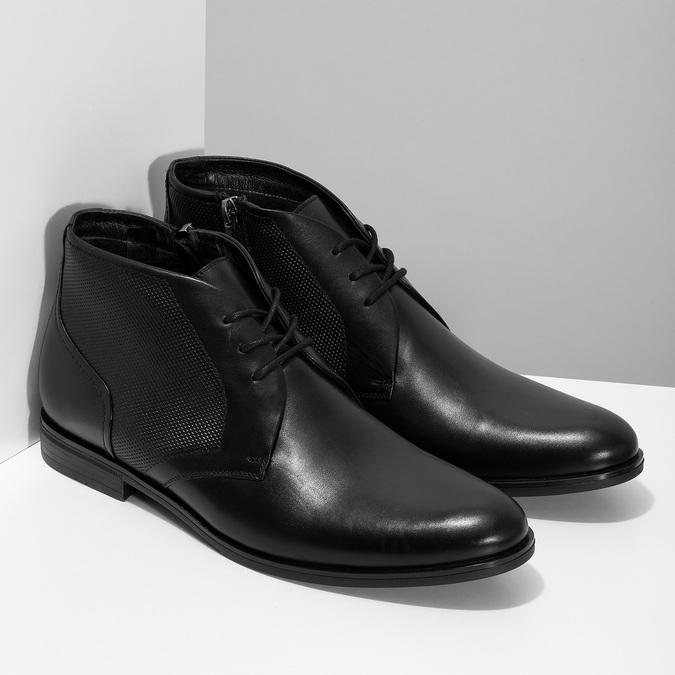 Pánská kožená kotníčková obuv se strukturou conhpol, černá, 894-6605 - 26