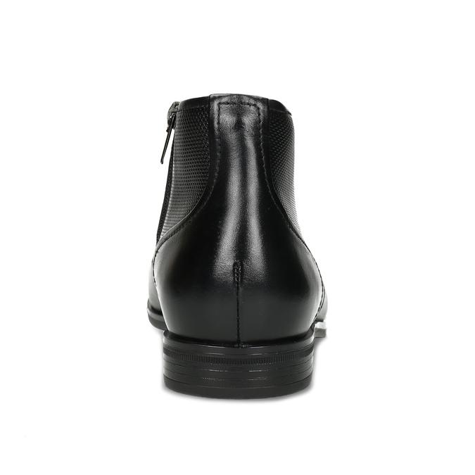 Pánská kožená kotníčková obuv se strukturou conhpol, černá, 894-6605 - 15