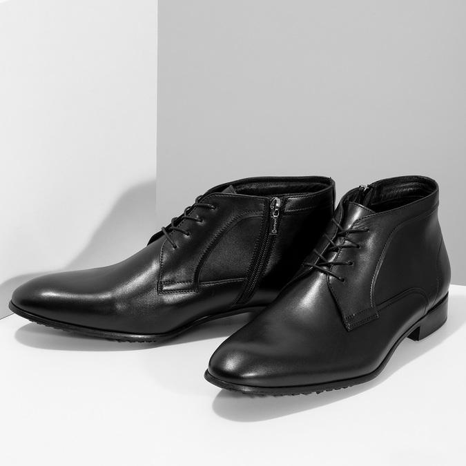 Černá pánská kožená kotníčková obuv conhpol, černá, 894-6603 - 16