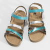Kožené dětské sandály na suchý zip mini-b, tyrkysová, 466-7611 - 16