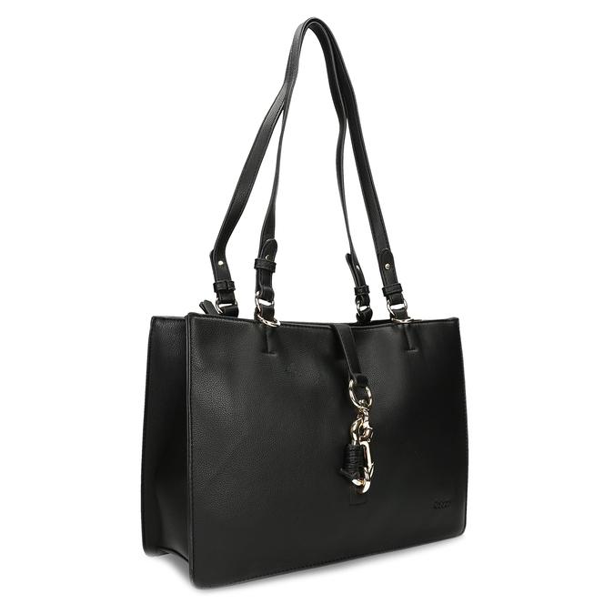 Černá dámská kabelka s kovovou sponou gabor, černá, 961-6129 - 13