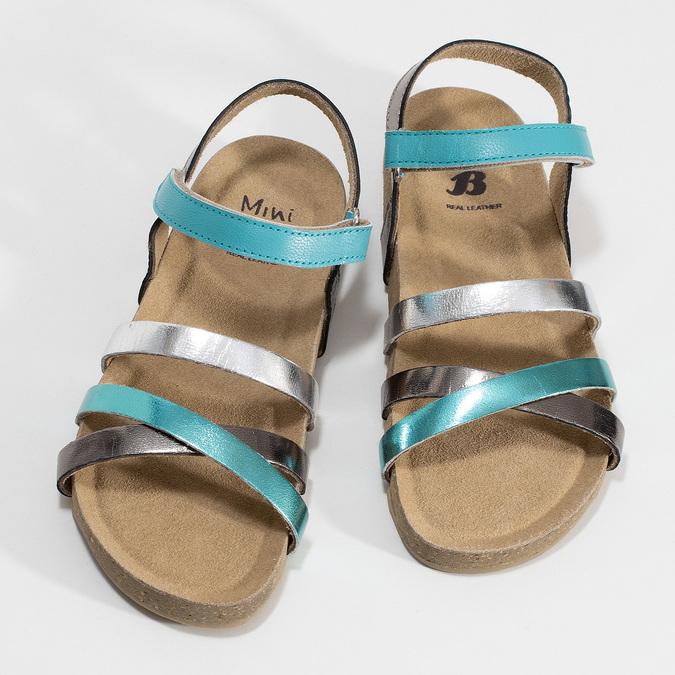 Páskové dívčí sandály kožené mini-b, tyrkysová, 466-7611 - 16